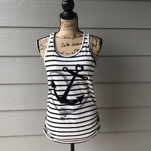 Black and white stripe anchor tank top